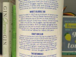 Back of Nelson's gin bottle